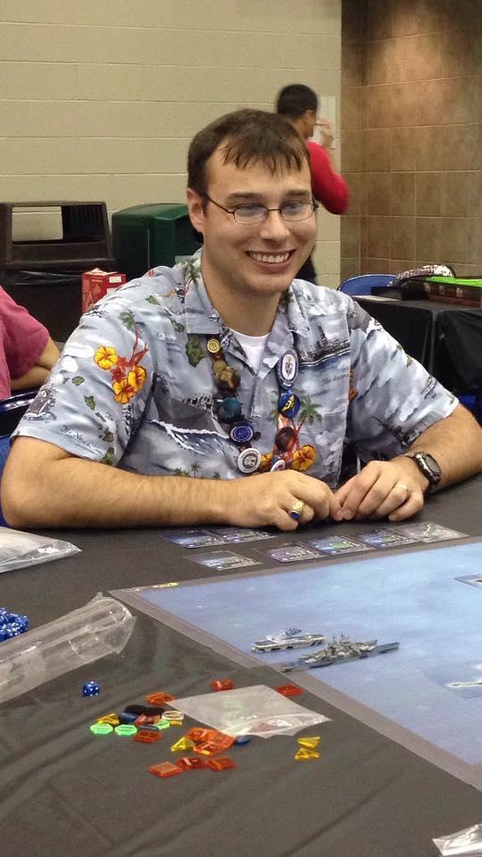 Me enjoying a game of War at Sea.