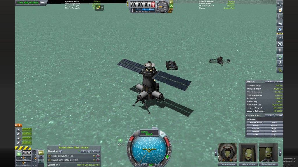 Here is my base on the surface of Minmus, which is the second moon orbiting the Kerbal home planet.